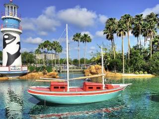 Собирать пазл Маяк и яхта онлайн