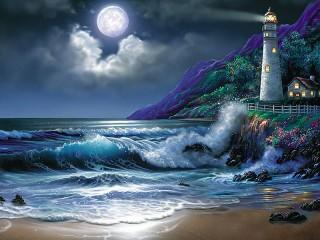 Собирать пазл Маяк в лунном свете онлайн