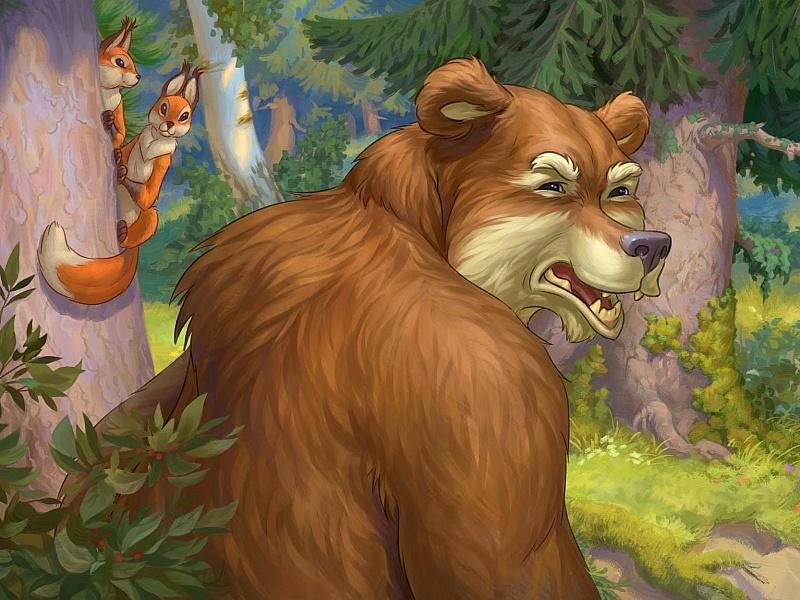 Пазл Собирать пазлы онлайн - Медведь и белки