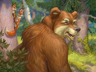 Собирать пазл Медведь и белки онлайн