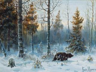 Собирать пазл Медведь зимой онлайн
