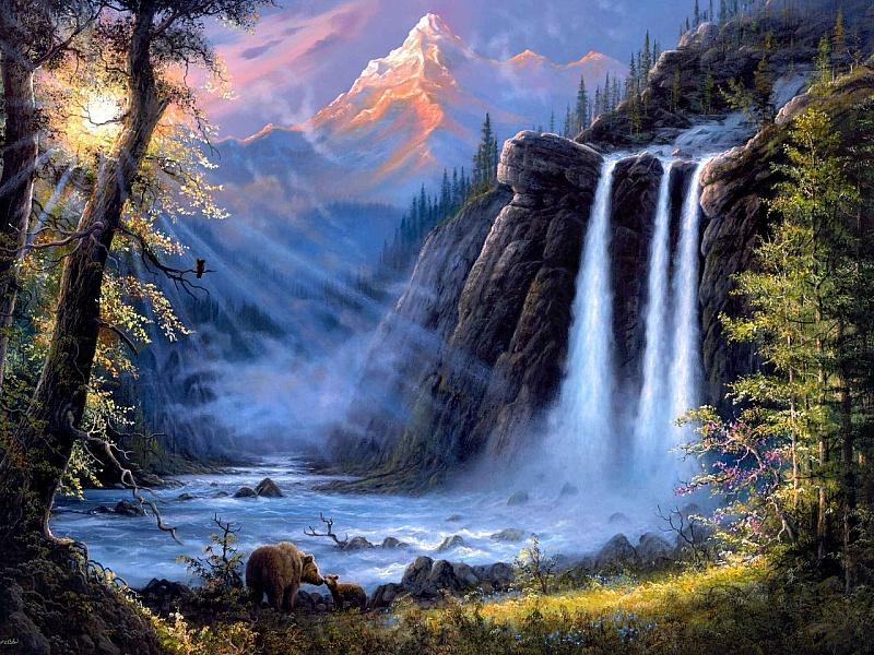 Пазл Собирать пазлы онлайн - Медведи у водопада