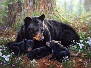 Собирать пазл Медвежье семейство онлайн