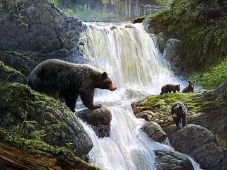 Собирать пазл Медвежья переправа онлайн