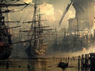 Собирать пазл Мельница в порту онлайн