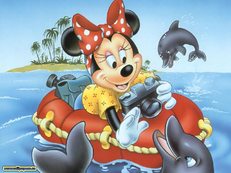 Пазл Собирать пазлы онлайн - Минни и дельфины