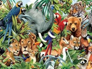 Собирать пазл Мир животных онлайн