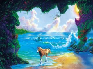 Собирать пазл Мистические лошадки онлайн