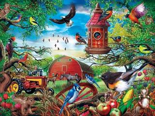 Собирать пазл Много птицы онлайн