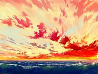Собирать пазл Море и облака онлайн