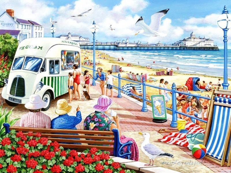 Пазл Собирать пазлы онлайн - Мороженое на пляже