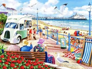 Собирать пазл Мороженое на пляже онлайн