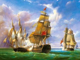 Собирать пазл Морская битва онлайн