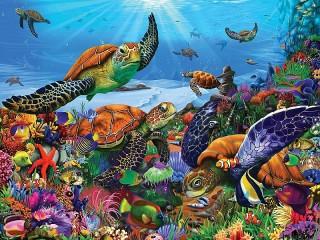 Собирать пазл Морские черепахи онлайн