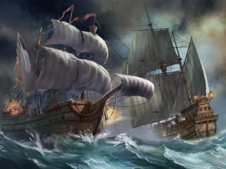 Собирать пазл Морской бой онлайн