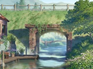 Собирать пазл Мост через речку онлайн