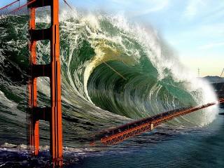 Собирать пазл Мост и цунами онлайн