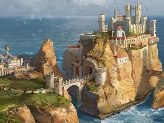 Собирать пазл Мост к замку онлайн