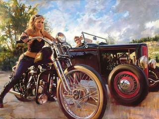 Собирать пазл Мотоцикл и автомобиль онлайн