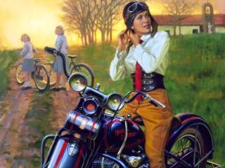 Собирать пазл Мотоциклистка онлайн