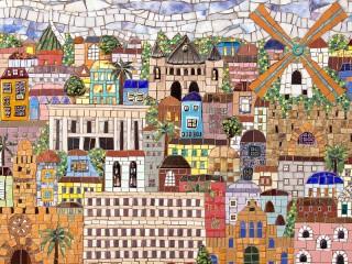 Собирать пазл Мозаичный город онлайн