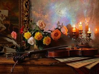 Собирать пазл Музыка и свечи онлайн