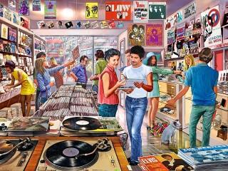 Собирать пазл Музыкальный магазин онлайн