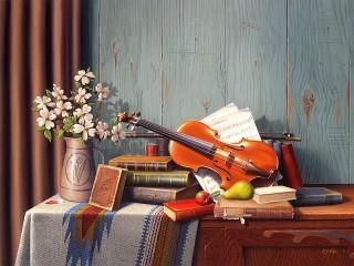 Собирать пазл Музыкальный натюрморт онлайн