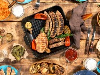 Собирать пазл Мясо на сковороде онлайн