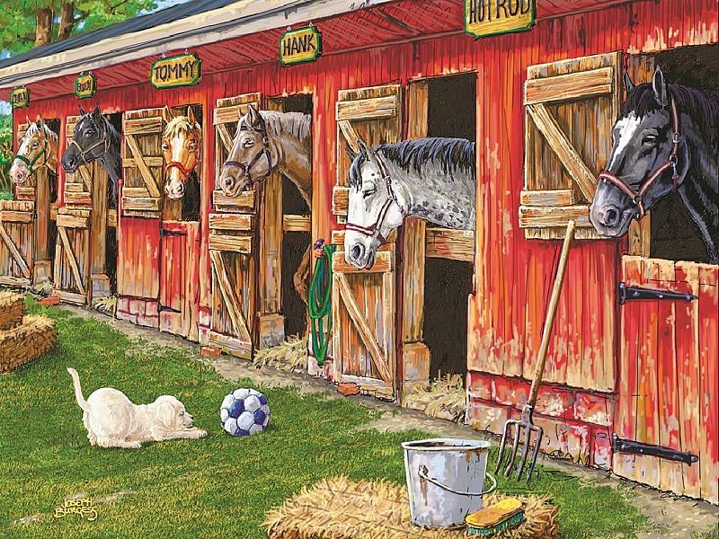 Пазл Собирать пазлы онлайн - На конюшне