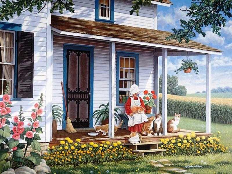 взгляд, деревенский дом с крыльцом картинки уютные шали
