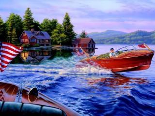 Собирать пазл На моторной лодке онлайн