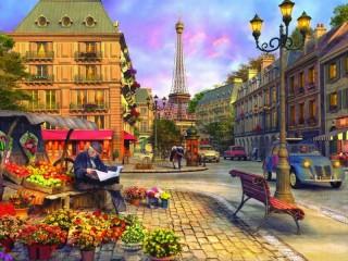 Собирать пазл На парижской улице онлайн