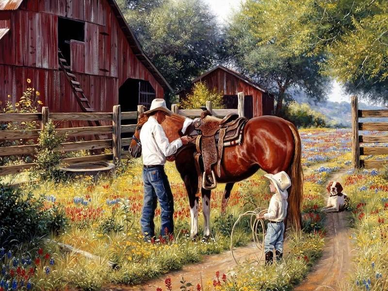 Пазл Собирать пазлы онлайн - На ранчо