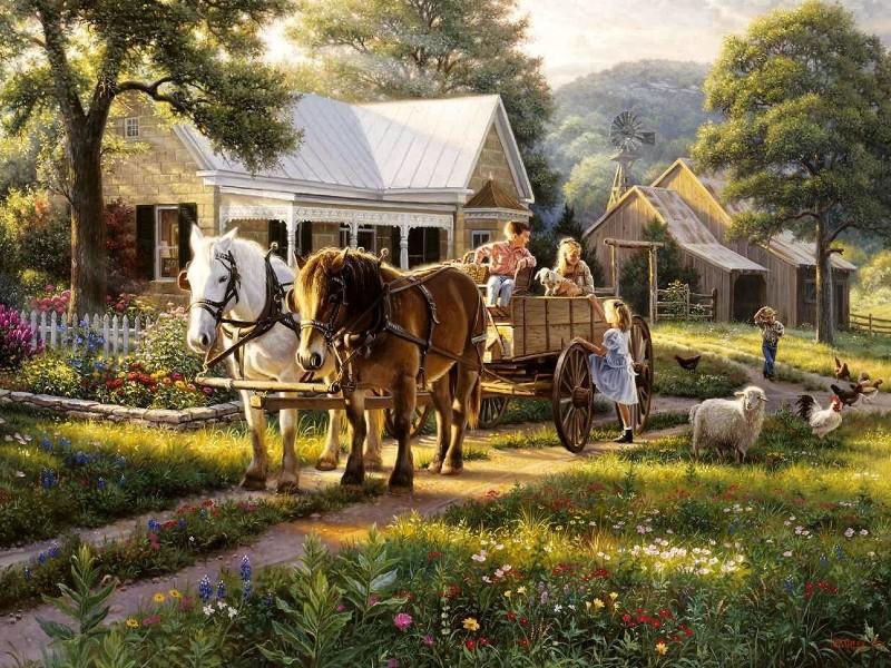 Пазл Собирать пазлы онлайн - На ранчо 1