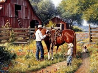Собирать пазл На ранчо онлайн