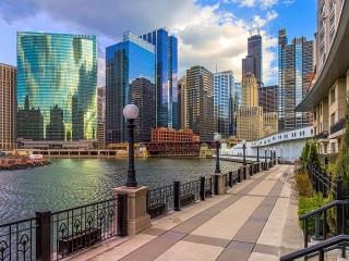Собирать пазл Набережная Чикаго онлайн