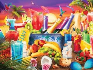 Собирать пазл Напитки и фрукты онлайн