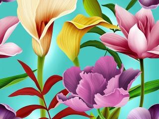 Собирать пазл Нарисованные цветы онлайн