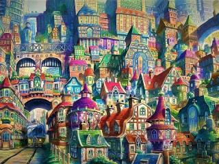 Собирать пазл Нарисованный город онлайн