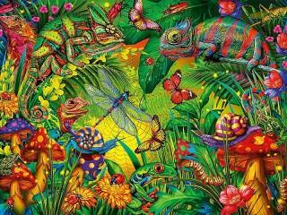 Собирать пазл Насекомые в джунглях онлайн