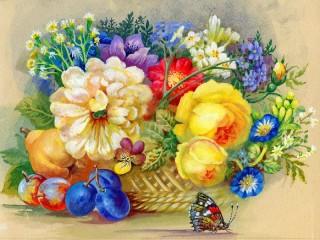 Собирать пазл Букет цветов Бабочка  онлайн