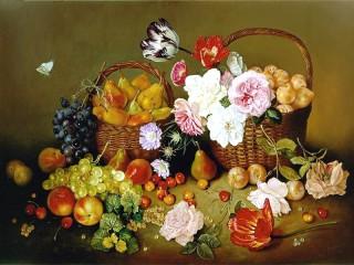 Собирать пазл Натюрморт с розами и фруктами  онлайн