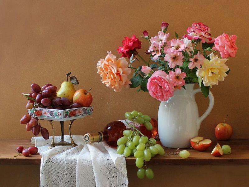 Пазл Собирать пазлы онлайн - Розы и виноград