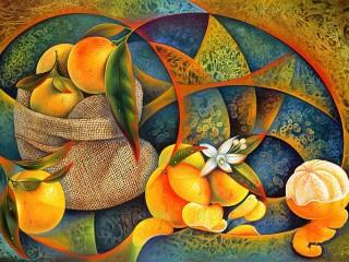 Собирать пазл Натюрморт с апельсином онлайн