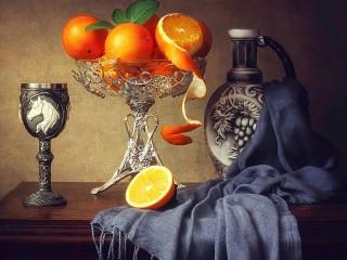 Собирать пазл Натюрморт с апельсинами  онлайн