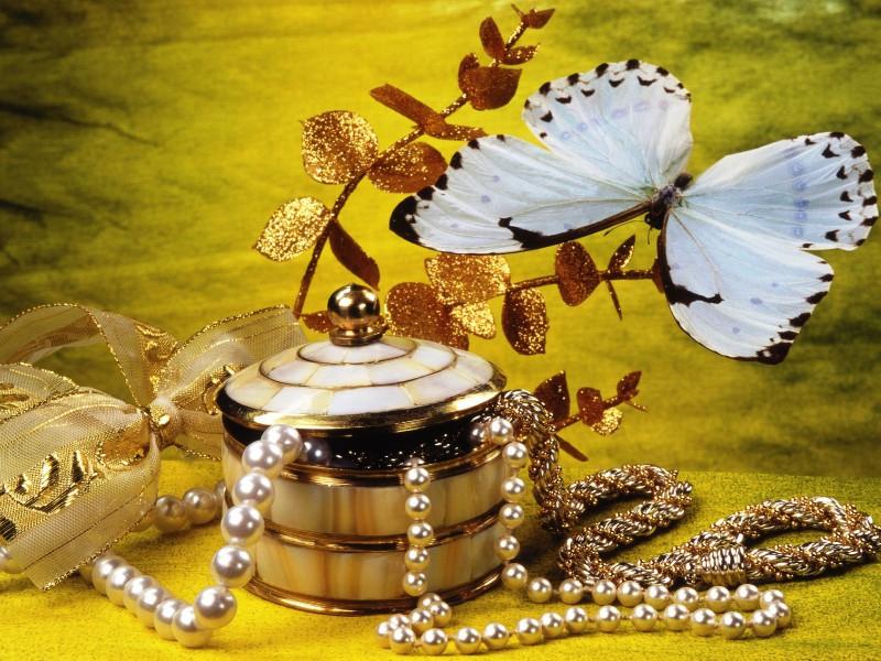 Пазл Собирать пазлы онлайн - Натюрморт с бабочкой