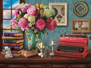 Собирать пазл Натюрморт с книгами онлайн