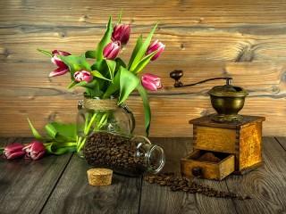 Собирать пазл Натюрморт с кофе онлайн