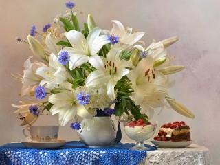 Собирать пазл Натюрморт с лилиями онлайн